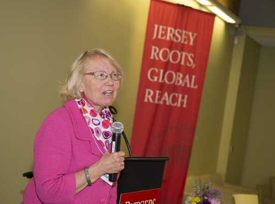 Joan Bennett welcomes UMDNJ and Rutgers faculty to the networking kickoff.
